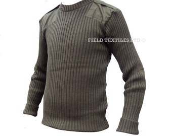 Jersey Man's Heavy Olive Green PULLOVER/JUMPER - Size Small Medium Large - British Army