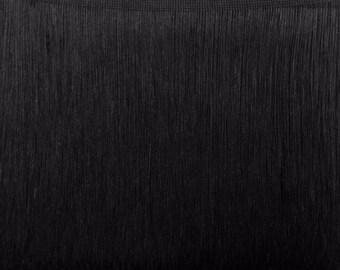 "Chainette Fringe Black 12""Long (Price per yard )"