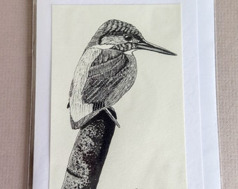 Perching Kingfisher Greetings Card