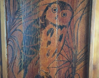 Wood Owl Wall Art, Vintage Wall Art