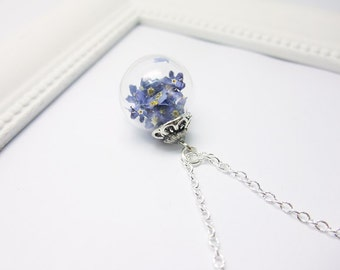 Forget-me-not real flowers chain 45cm