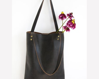 BROWN LEATHER tote bag - Leather Tote Bag - Brown Leather Shoulder Bag,handbag