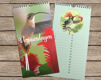 Birthday calendar with hummingbird illustrations