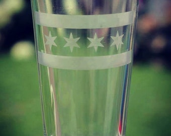 Chicago Flag Etched Pint Glass 16 oz