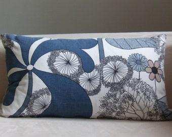 Bolster cushion cover and pad retro vintage Swedish 1960's fabric