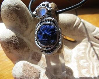 Azurite,Moonstone,Quartz Swirl Pendant