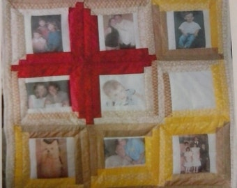 Photo memory quilt wall hanging (with 1-10 photos)