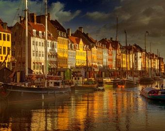 Copenhagen, Denmark, harbor, boats, architecture, seaside, seascape, photography, wall art