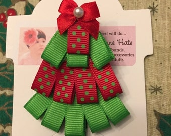 Green and Red Grosgrain Ribbon Sculpture Art Hair Bow Clip Clippie Christmas Tree