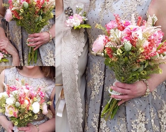 Custom Handmade Silk/Artificial Flower Bridal Bouquet