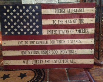 Primitive wooden distressed sign - American flag with Pledge of Allegiance