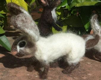 Coniglio bianco di feltro - 19 cm x 13 cm
