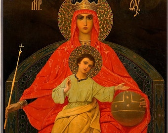"Russian Orthodox Icon Mother of God ""Reigning"". Religious Icon."