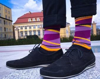 Eugene - orange purple casual stripe socks | colorful socks | funky socks | gift for men | crazy socks | cool socks | casual socks