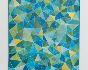 Original Geometric Abstract (Blue/Green Spectrum)
