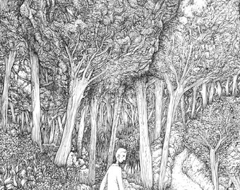 "Black and white illustration ""Walk"""