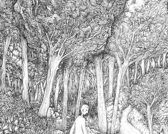 "Black and white illustration ""Walk"""