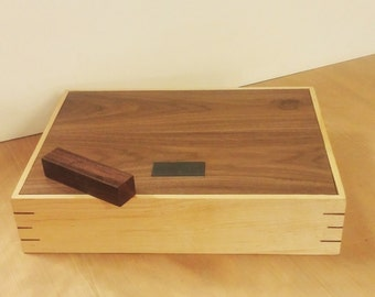 Walnut and Maple Keepsake Box With Key - Large Handmade Solid Wood Wedding Box/Memory Box