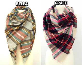 Plaid Blanket Scarf, Blanket Scarf, Oversized Scarf, Plaid Scarf, Chunky Scarf, Gift For Her, Tartan Scarf, Chunky Women Scarf