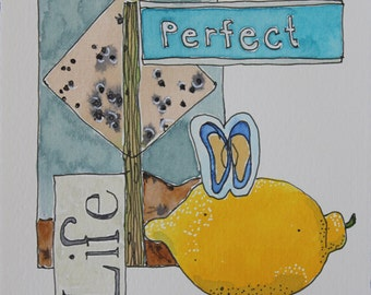 Perfect Life. Fine Art, Painting, Painting, Silly Art, Gift Art, Small Art, Watercolor