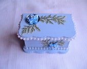 Ring box, earring box, blue painted box, little girls gift, decorated with flowers, mirror and beads