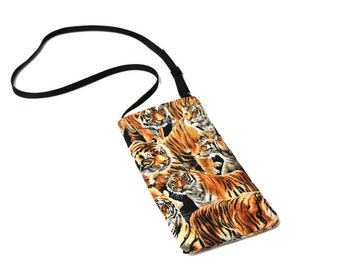 Tiger fabric Eyeglass Reader Case -with adjustable neck strap lanyard