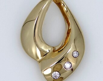 "14k Solid Gold & Diamonds ""Slide"" Pendant"