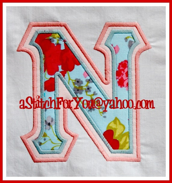 Greek letters sorority nu double applique school by