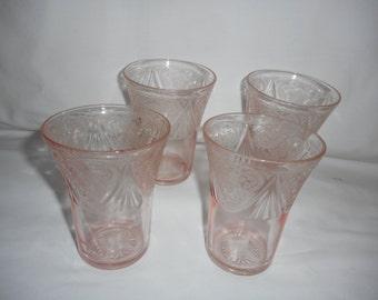 "Royal Lace Hazel Atlas Depression Glass Pink 4 1/8"" Tumblers Glasses Flat Bottom 1930s"