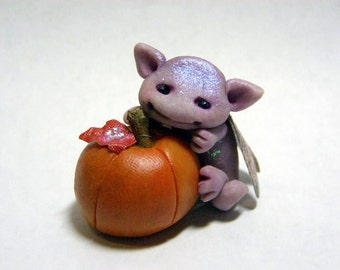 "OOAK Purple Micro Dragon Pumpkin Fairy Trollfling Troll ""Tinki Belle"" by Amber Matthies"