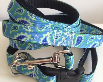 5/8 inch Blue, Green, White Paisley Dog Leash and Collar Set