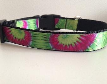 Pink and Green Tye Dye Print 1 inch Large Dog Collar