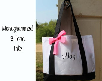 4 Bridesmaid Totes, Personalized, Monogrammed, Bridesmaids Gift, 2 Color, Embroidered Tote, Monogrammed Tote, Bridal Party Gift, Team Bride