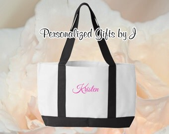 5 Personalized Totes, Monogrammed Bridesmaid Gift, Tote, 2 Color, Set of 5, Monogrammed Bag, Bridesmaids Tote, Personalised Tote Bag