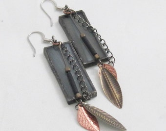 Boho Stained Glass Earrings | Bohemian | Stained Glass | Gift Under 50 | BOHO | Hippie | Dangle Earrings | Feather Jewelry | Grey | Gray