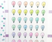 36 Light bulb, planner stickers, idea, reminder, work, school, business, teacher, study, handmade stickers, hand drawn, pastel, LGT1