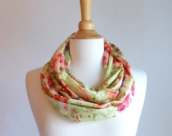 SALE Rose Floral infinity scarf pink and green cotton rose print circle scarf spring botanical scarf cotton cowl scarf accessories