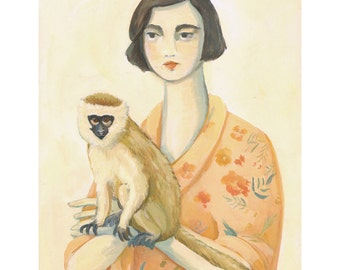 A Lady and A Monkey Print 11x14