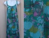 70s Vintage Groovy Maxi Caftan Dress - Teal Floral and Bird Print // Sz Lge - XL