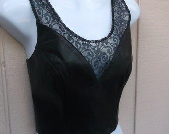 Vintage 80s Black Leather and Lace Crop Top by Chia / Tank Top // Sz Med