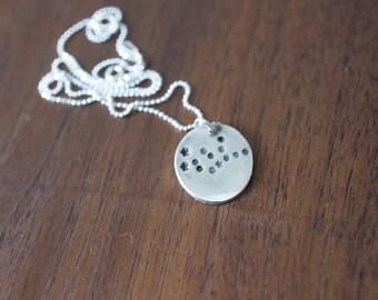 Virgo Constellation Necklace Zodiac Necklace - Gift for her September Birthday Gift Sterling Silver Virgo Pendant Small Virgo Simple Virgo