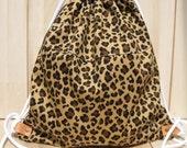 NEW Leopard BackPack Bag school backpack drawstring gym grocery excursion bag unisex