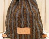 NEW Brown BackPack Bag school backpack drawstring gym grocery excursion bag unisex