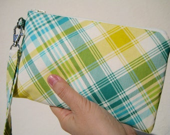 Wedding Clutch, wristlet, cotton, medium, green, 2 pockets, bridesmaid gift, wristlet  - Tartan green
