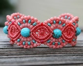 REDUCED Micro-Macrame Beaded Cuff Bracelet - Coral, Pink,  Turquoise