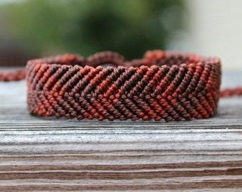 Micro-Macrame Chevron Bracelet - Browns