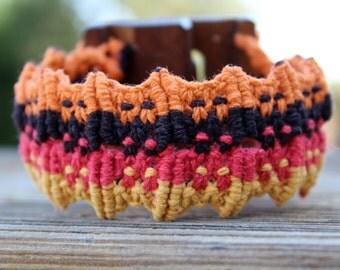 Micro-Macrame Cuff Bracelet with Wooden Buckle - Dark Brown, Red, Gold, Orange