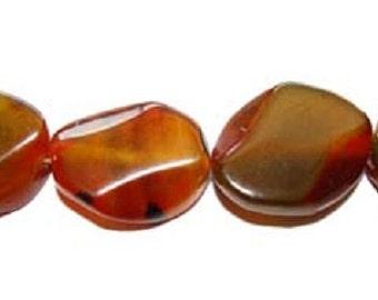 Brown & Green Twist Oval Agate Gemstone Beads