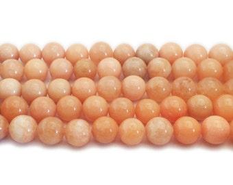 Light Orange Jade Round Gemstone Beads