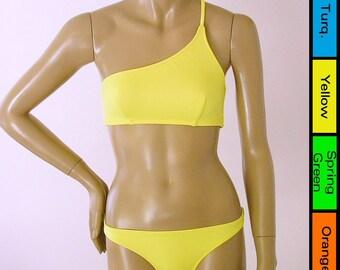 One Shoulder Bikini Top and Full Coverage Bikini Bottom Two Piece Bikini in Yellow. Green, Turquoise or Orange in S-M-L-XL